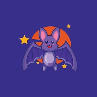 Cute bat fly in night cartoon illustration. hallowen icon concept.