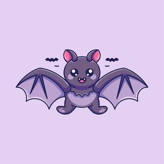 Симпатичная летучая мышь, летающая мультяшный дизайн