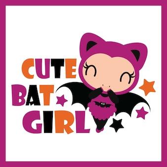 할로윈 카드 디자인, 벽지 및 아이 티셔츠 디자인 호박 프레임 벡터 만화 일러스트 레이 션에 귀여운 박쥐 소녀
