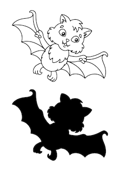 Cute bat halloween theme coloring book page for kids
