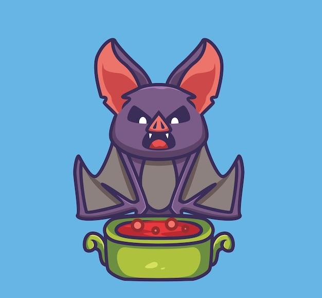 그릇에 피를 마시는 귀여운 박쥐 뱀파이어. 만화 동물 할로윈 이벤트 개념 격리 된 그림입니다. 스티커 아이콘 디자인 프리미엄 로고 벡터에 적합한 플랫 스타일. 마스코트 캐릭터