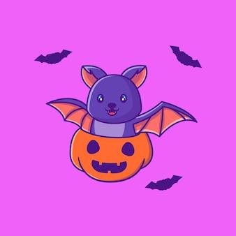 Милая летучая мышь с тыквой счастливого хэллоуина мультяшные иллюстрации