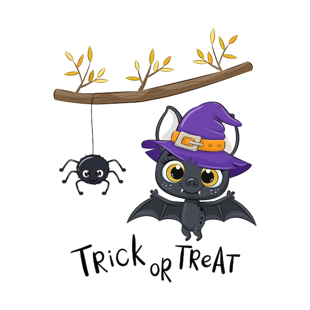 Cute bat with spider under the branch. happy halloween illustration.