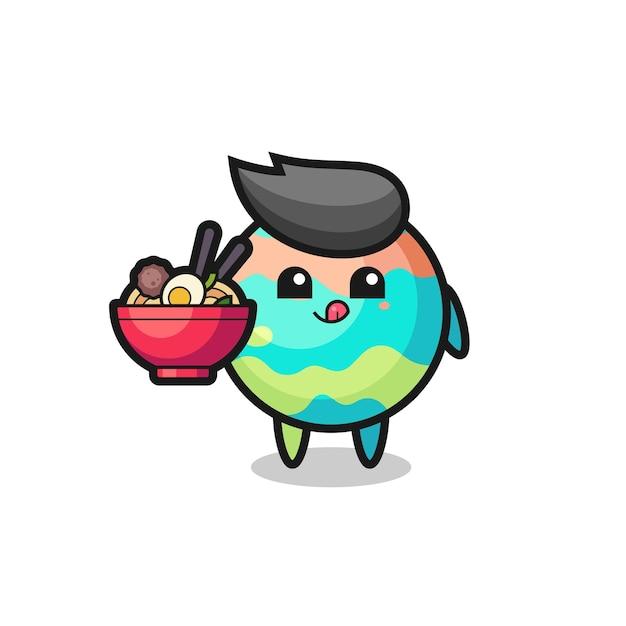 麺を食べるかわいいバスボムのキャラクター、tシャツ、ステッカー、ロゴ要素のかわいいスタイルのデザイン