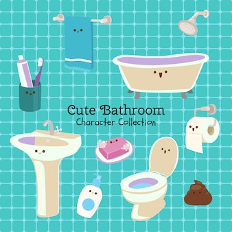 Cute bathroom character collection