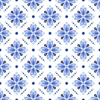かわいいバティックブルーのパターン