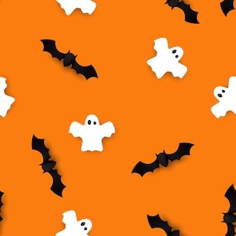 かわいいコウモリと幽霊のシームレスパターン