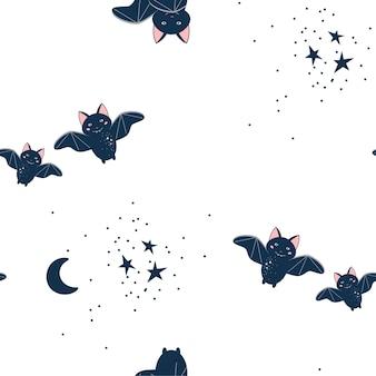 Cute bats halloween seamless pattern