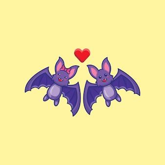 愛の漫画イラストでかわいいコウモリ。ハロウィーンのアイコンの概念。