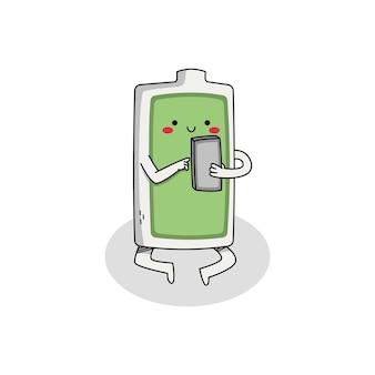 電話でかわいいバッテリー漫画のキャラクター