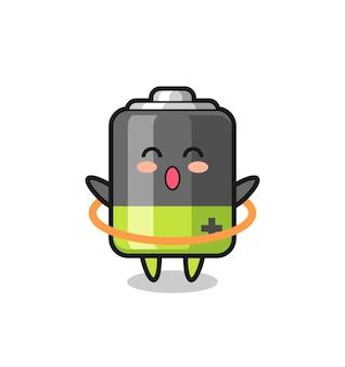 Симпатичный мультяшный аккумулятор играет в хула-хуп, милый стиль дизайна для футболки, наклейки, элемента логотипа
