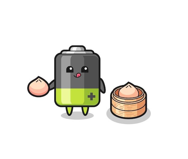 Симпатичный персонаж-аккумулятор, который ест паровые булочки, милый стильный дизайн для футболки, стикер, элемент логотипа