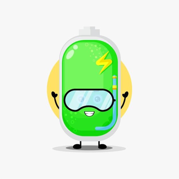 다이빙 장비의 귀여운 배터리 캐릭터