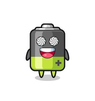 Симпатичный персонаж батареи с загипнотизированными глазами, милый стильный дизайн для футболки, стикер, элемент логотипа