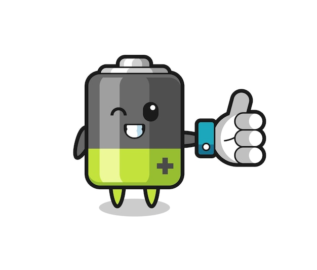 Cute battery with social media thumbs up symbol , cute style design for t shirt, sticker, logo element
