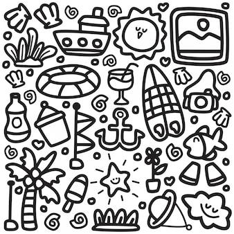 Милый пляж doodle дизайн иллюстрация
