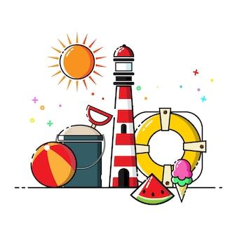 Cute the beach flat icon set vector