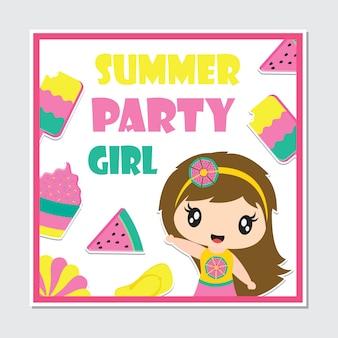 Cute beach girl and summer elements frame for birthday card