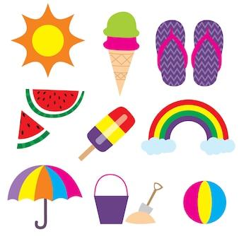Cute beach summer vacation icon sets