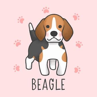 Cute beagle cartoon hand drawn style