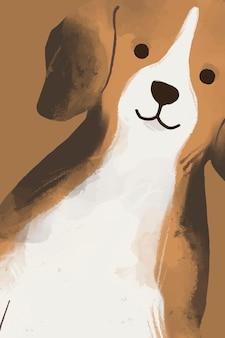 かわいいビーグル犬の背景ベクトル手描きイラスト