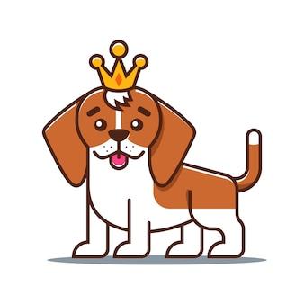 Милая гончая собака. любимое животное плоский характер векторные иллюстрации.