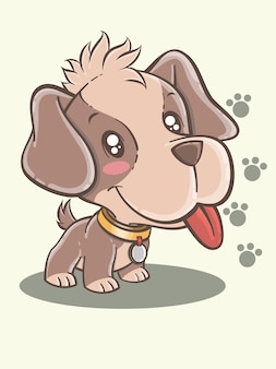Милый бигль щенок мультипликационный персонаж