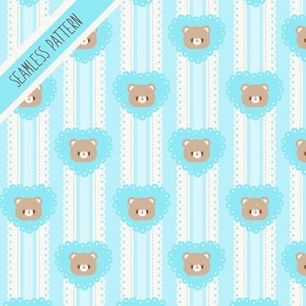 Милый медведь и голубое сердце бесшовные модели. рисованный кролик