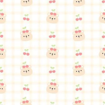 かわいいクマと桜のシームレスなパターン