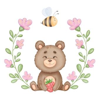かわいいクマと花の花輪かわいい子供たちのイラスト