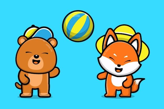 かわいいクマとキツネが一緒にボールを遊ぶ動物の友達漫画イラスト