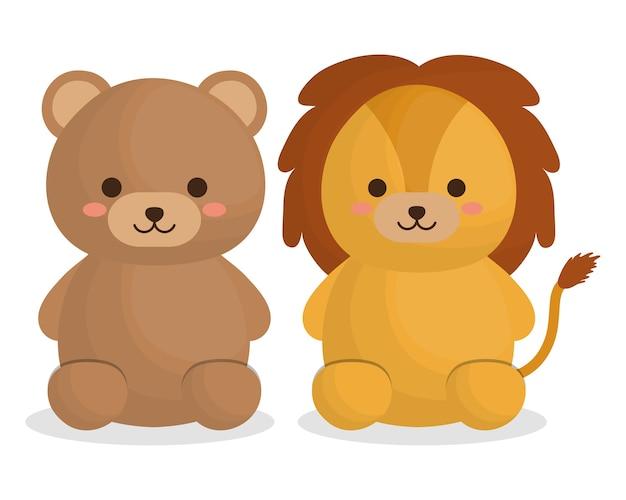 Симпатичный медведь и лев животных значок