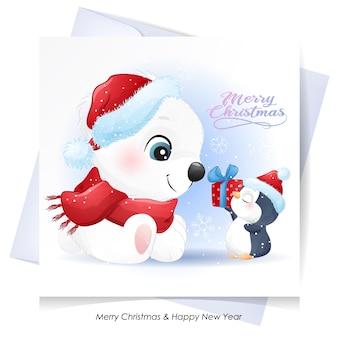 かわいいクマさんと水彩イラストのクリスマスのペンギン