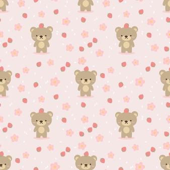 かわいいクマとイチゴのシームレスなパターン