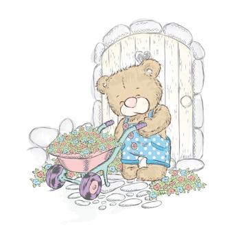 귀여운 곰과 묘목과 트롤리. 정원에서 곰.