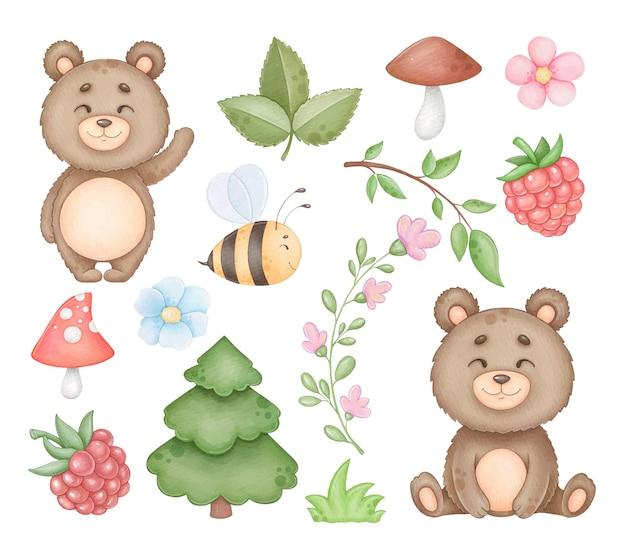 Милый медведь и элементы из дерева картинки изолированные