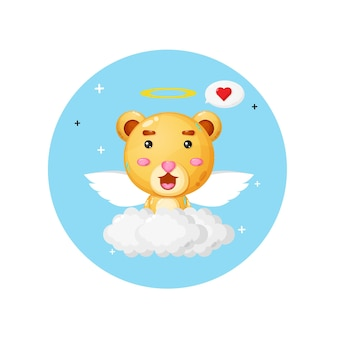 A cute bear angel flying above the clouds