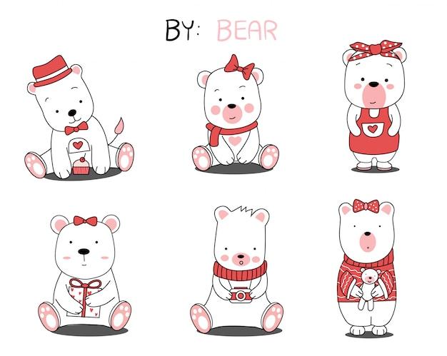 The cute bear animal cartoon on white