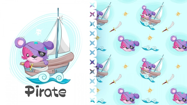 Cute bear animal little pirates seamless pattern