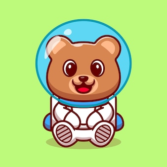 Cute bear astronaut cartoon illustration.