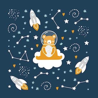 Cute bear astronaut in space.