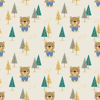 Cute bear in autumn forest seamless pattern