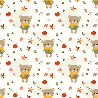 Cute bear and autumn leaves seamless pattern.