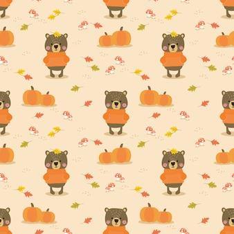 Cute bear in autumn seamless pattern