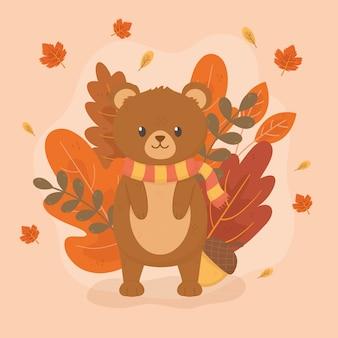 Cute bear in autumn season