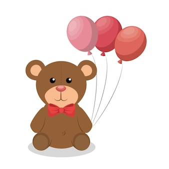 Cute bear baby with balloons party icon vector illustration design