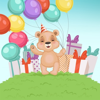 Cute bear background. funny teddy bear toy for kids sitting or standing birthday or valentine gifts  character