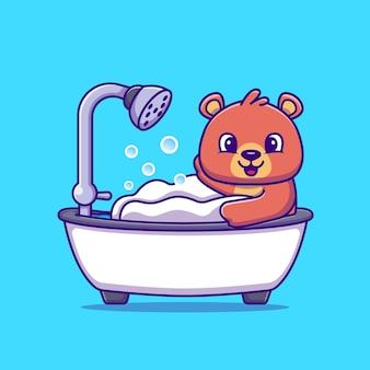 Orso carino fare il bagno doccia nella vasca da bagno fumetto illustrazione vettoriale. vettore isolato concetto animale. stile cartone animato piatto