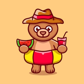 Cute bear in beach hat with swim rings carrying watermelon and drink