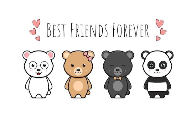 Cute bear best friends greeting cartoon doodle card icon illustration design flat cartoon style